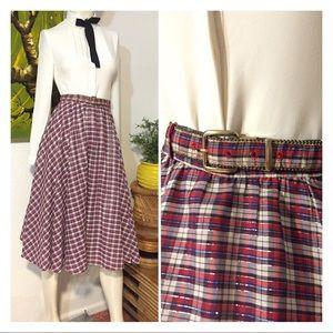 Vintage Plaid Tartan Print Full Flare Circle Skirt